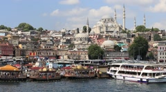 Architecture and Muslim Mosque over the Golden Horn bay in Istanbul, Turkey Stock Footage