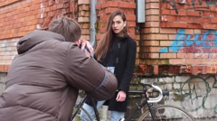 Beautiful Girl With Bicycle Posing at the Camera. Photosession Stock Footage