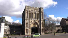 Bury St Edmunds England castle gate historical city 4K Stock Footage