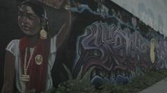 East Los Angeles Street Art and Pedestrian - Film Log Stock Footage