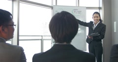Japanese business women explains new concept at staff meeting Stock Footage