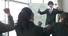 Young Japanese salesman gets the team motivated before a big day Stock Footage