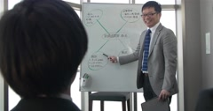 Japanese business man has a positive talk with team about strategy Stock Footage