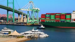 Cargo Container Ship and sea port next to Vincent Thomas Bridge in San Pedro Stock Footage