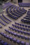High angle view of empty chairs in German Parliament hall Stock Photos