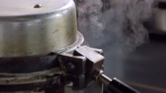 Closeup Of Steam Rising From Industrial Waffle Maker Stock Footage