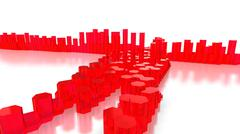 Red glass hexagon towers on white Stock Illustration