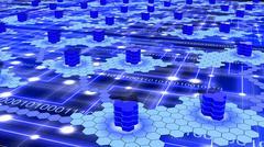 Hexagon supercomputer network on blue. - stock illustration