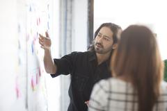 Business people using adhesive notes in office Stock Photos