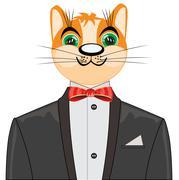 Redhead cat in suit - stock illustration