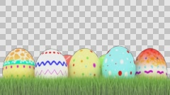Meadow with green grass and easter eggs Stock Footage