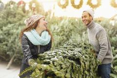 Couple hauling tree at Christmas tree farm - stock photo