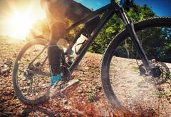 Mountain bike on ground Stock Photos