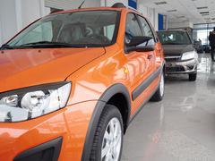 car headlight and hood of powerful car  orange - stock photo