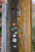 Metal numbers nailed to pole Kuvituskuvat