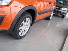 Car headlight and hood of powerful car  orange Stock Photos