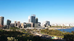 Perth city from king's park Stock Footage