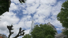 Shangri-La Hotel seen behind trees in London Stock Footage