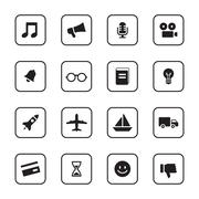 black flat transport and miscellaneous icon set with rounded rectangle frame - stock illustration