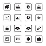 Stock Illustration of black flat finance and technology icon set with rounded rectangle frame