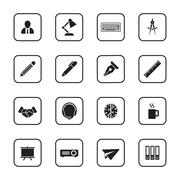 black flat business and office icon set with rounded rectangle frame - stock illustration