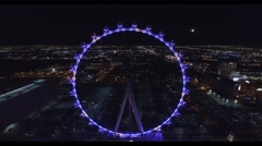 The Linq High Roller, Las Vegas aerial  4k night footage Stock Footage