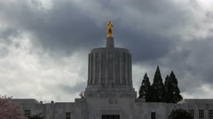 Time lapse of clouds and closeup on Salem State Capitol in Oregon in spring 4k Stock Footage