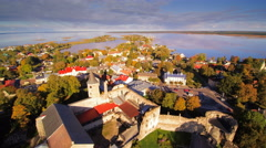 The aerial view of the city of Haapsalu Stock Footage