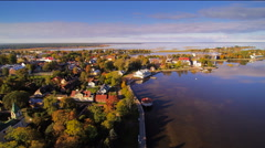 Aerial view of the coastal city of Haapsalu Stock Footage
