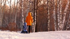 Young mother with a child for a walk in the park Stock Footage