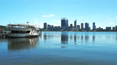 perth's swan river and paddle steamer - stock footage