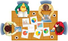 Top view of people working in team Stock Illustration