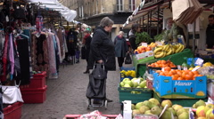 Cambridge England Farmers Market town center shoppers 4K Stock Footage