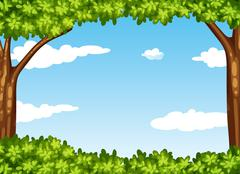 Nature scene with tree and sky - stock illustration
