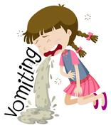 Girl vomiting and feeling sick Stock Illustration