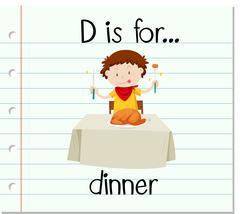 Flashcard letter D is for dinner Stock Illustration