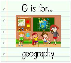 Flashcard letter G is for geography - stock illustration