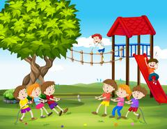 Children playing tug of war in the playground Stock Illustration