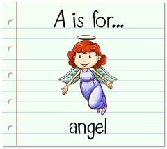 Flashcard letter A is for angel - stock illustration