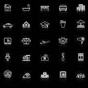 Hospitality business line icons with reflect on black background - stock illustration
