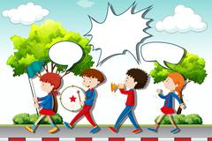 Children playing music in the band Stock Illustration