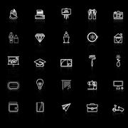 Art and creation line icons with reflect on black background Stock Illustration