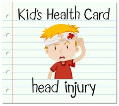 Health card with boy having head injury - stock illustration
