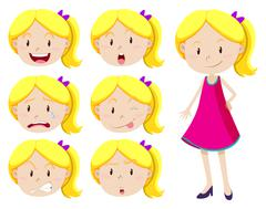 Cute girl with different facial expressions Stock Illustration