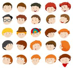 Facial expressions of boys and men Stock Illustration