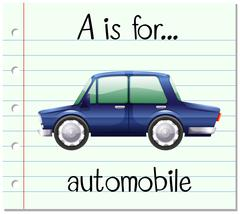 Flashcard letter A is for automobile Stock Illustration