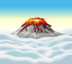 Volcano peak in the sky - stock illustration