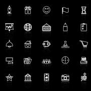 Business start up line icons with reflect on black Stock Illustration