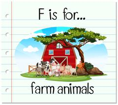 Flashcard letter F is for farm animals Stock Illustration