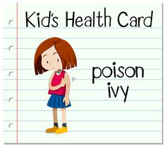 Health card with girl having poison ivy - stock illustration